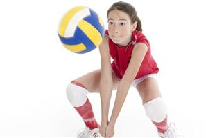 Girl Awaiting Volleyball Serve